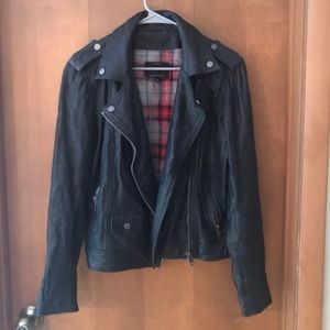 Lucky Brand Leather Jacket with Detachable Hood